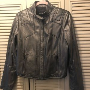 Rare Elie Tahari Pewter Leather Moto Jacket